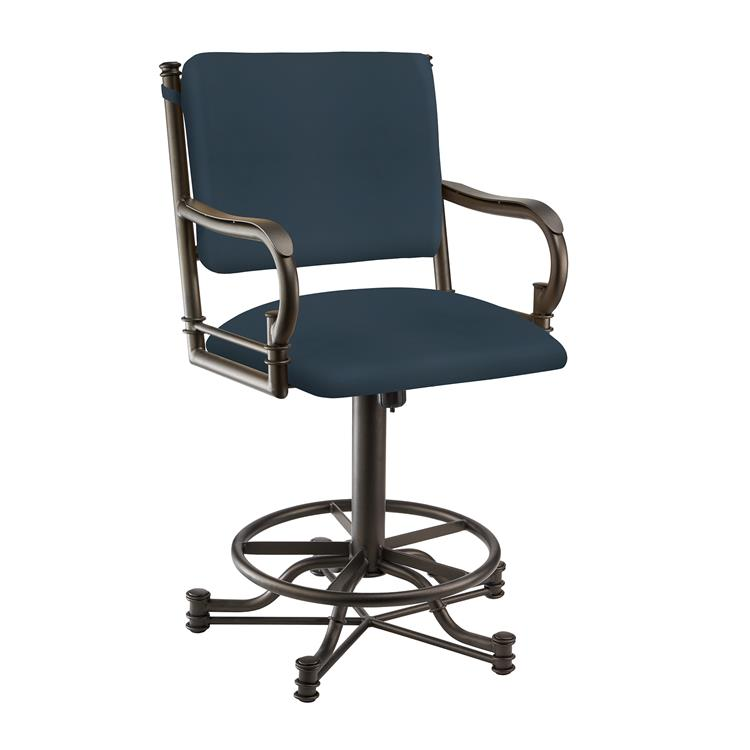 Taylor Gray Sharon 26 - inch  Counter Height Metal Swivel Barstool in Dark Blue Dillon Williamsburg Faux Leather and Pebblestone Finish - Made in the U.S.A.