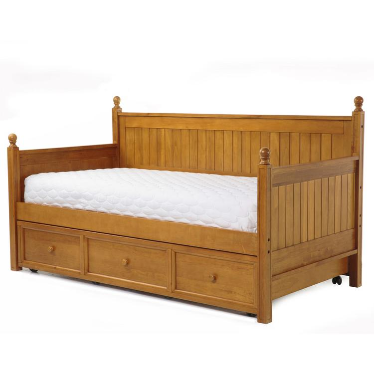 Casey II Complete Wood Daybed with Ball Finials and Roll Out Trundle Drawer