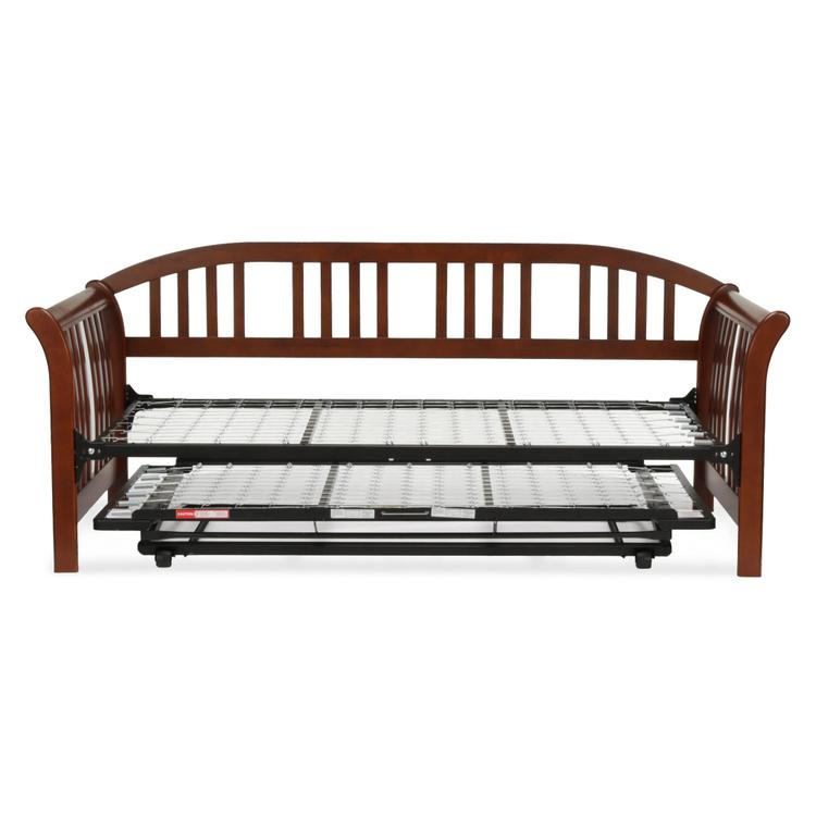 Salem Complete Wood Daybed with Link Spring and Trundle Bed Pop-Up Frame