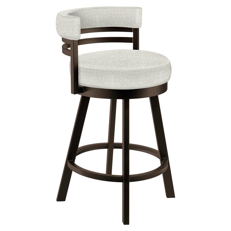 Taylor Gray Baja 26 - inch  Counter Height Metal Swivel Barstool in Cream Sugarshack 85 Performance Fabric and Capuccino Finish - Made in the U.S.A.