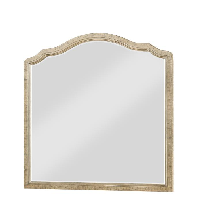 Interlude Sandstone Gray Dresser Mirror with Arched, Distressed Wood Frame