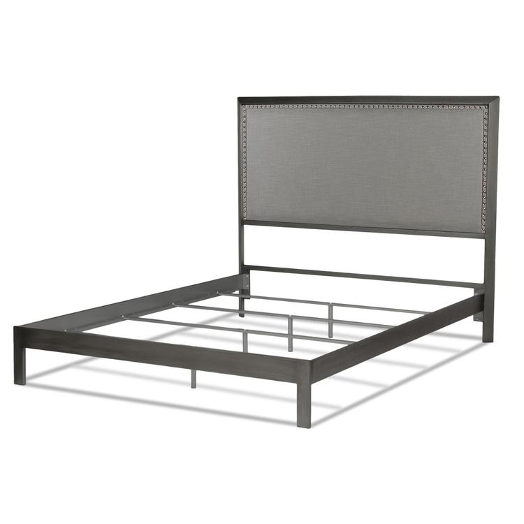 Normandy Platform Bed With Metal Frame And Steel Upholstered Headboard