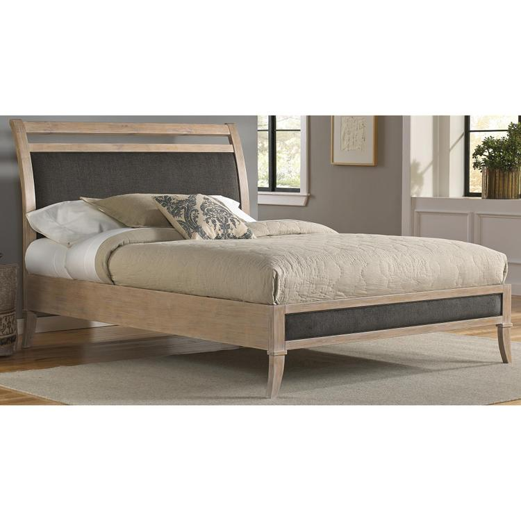 Fashion Bed Group Delano Platform Bed with Wood Frame and Sleigh-Style Upholstered Headboard