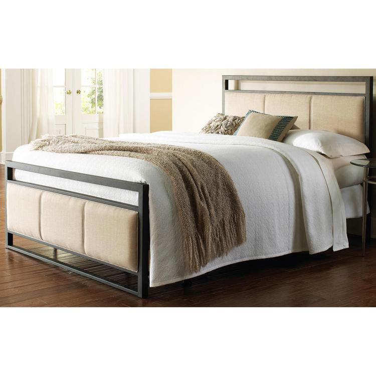 Fashion Bed Group Danville Complete Bed with Squared Metal Tubing and Buckwheat Upholstered Panels