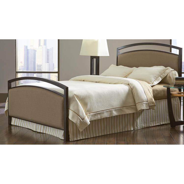 Fashion Bed Group Gibson Complete Bed with Metal Duo Panels and Brown Sugar Upholstery
