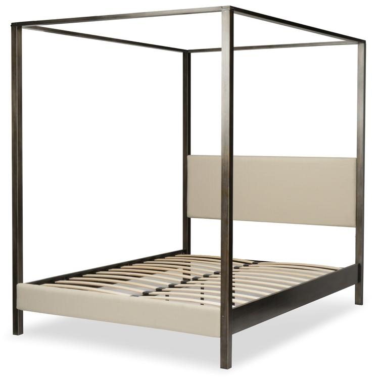 Avalon Canopy Platform Bed With Platinum Upholstered Headboard And Bed Posts