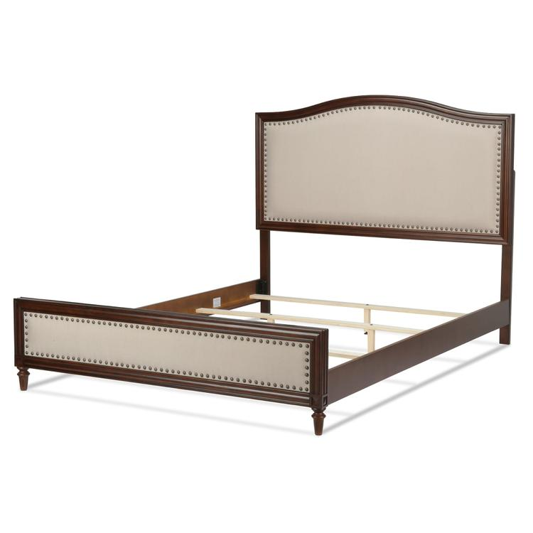 Grandover Platform Bed With Detailed Wooden Frame And Cream Upholstery