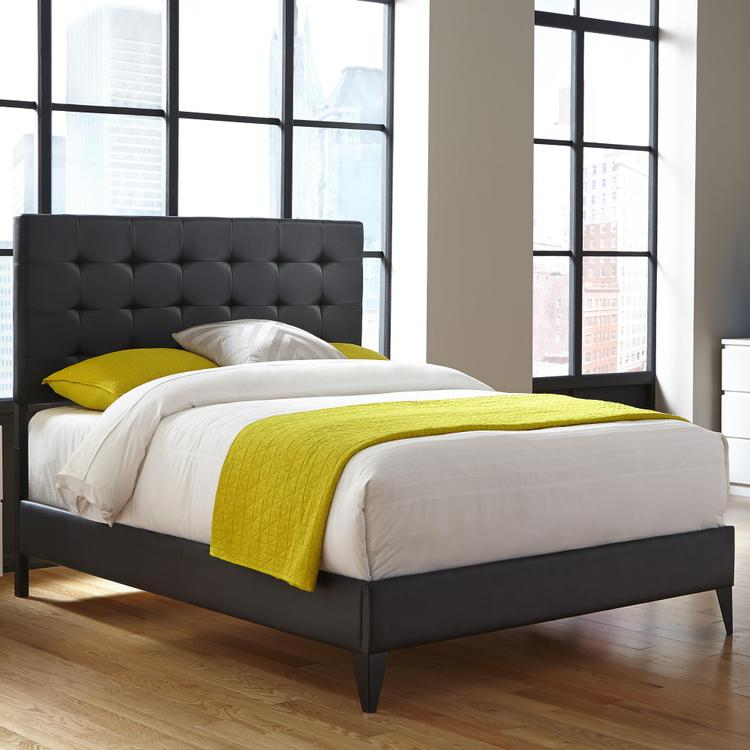 Fashion Bed Group Sullivan Platform Bed with Faux Leather Upholstered Frame and Button-Tufting