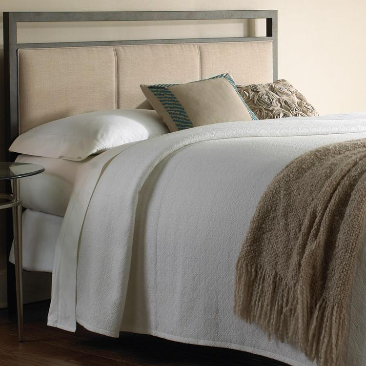 Fashion Bed Group Danville Metal Headboard with Squared Tubing and Buckwheat Upholstered Panels