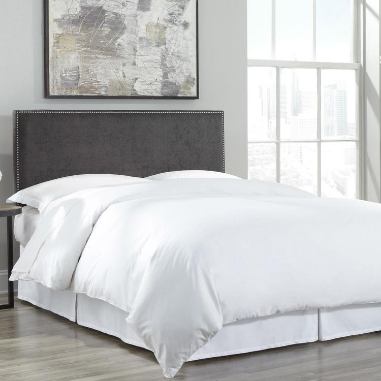 Fashion Bed Group Zurich Upholstered Adjustable Headboard Panel with Hand Applied Nailhead Trim