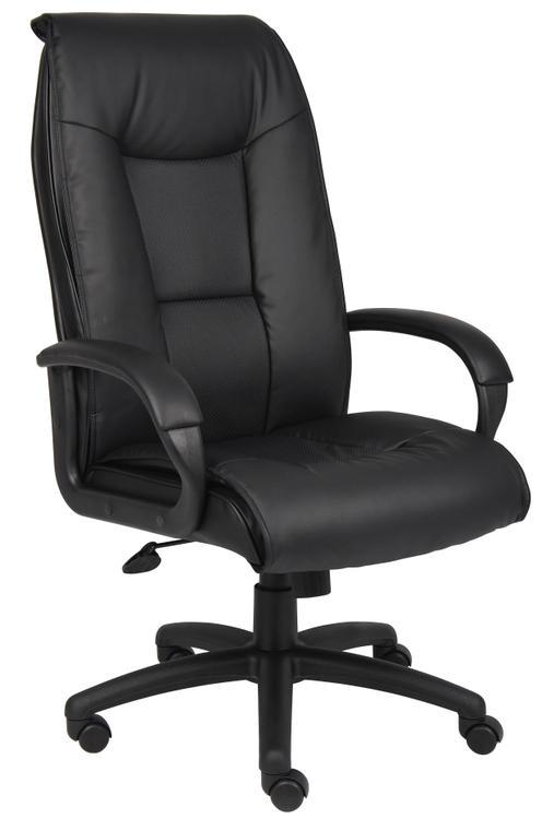 Boss Executive Leather Plus Chair W/Padded Arm & Knee Tilt