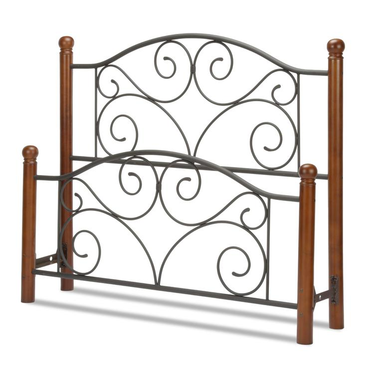 Doral Bed with Metal Panels and Dark Walnut Wood Posts