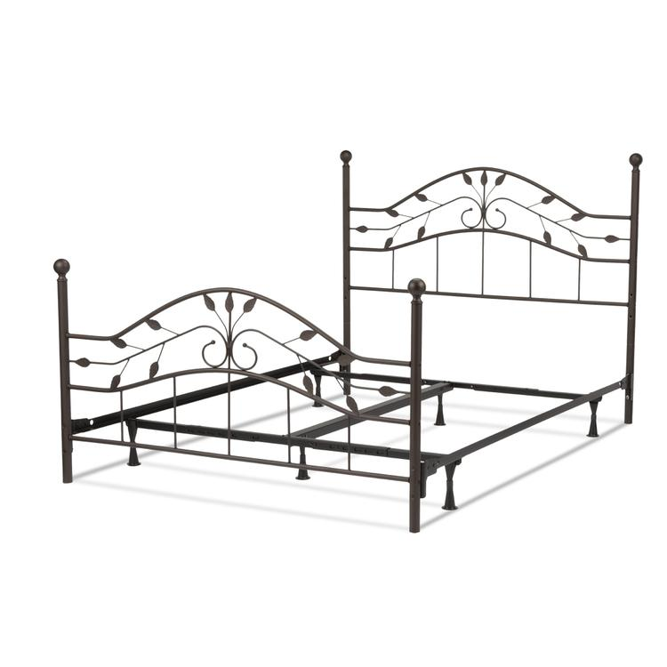 Sycamore Complete Bed with Arched Metal Duo Panels and Leaf Pattern Design