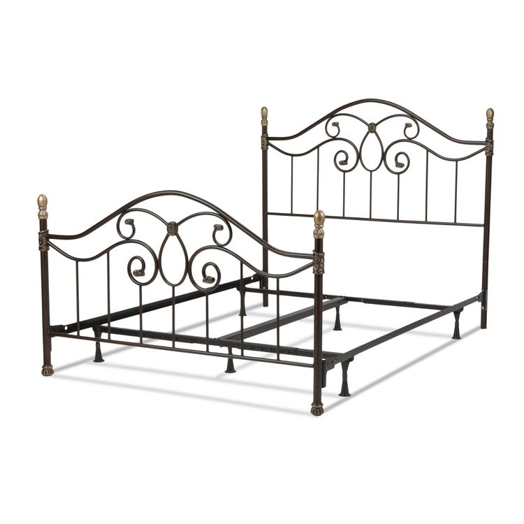 Dynasty Complete Bed with Arched Metal Duo Panels and Scalloped Finial Posts