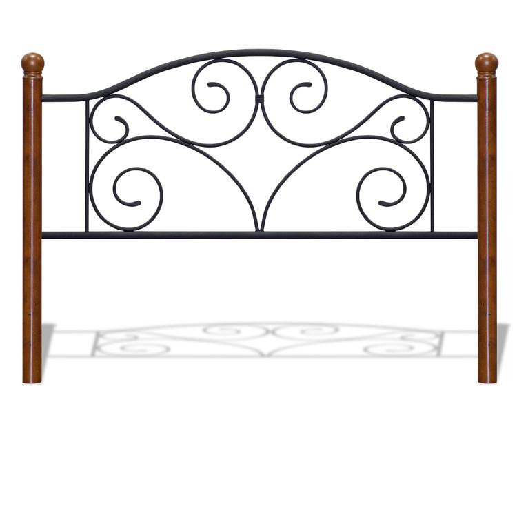 Doral Headboard with Dark Walnut Wood Posts and Metal Grill