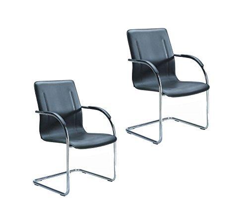 Boss Office Chrome Frame Black Vinyl Side Chair, 2pcs Per Pack