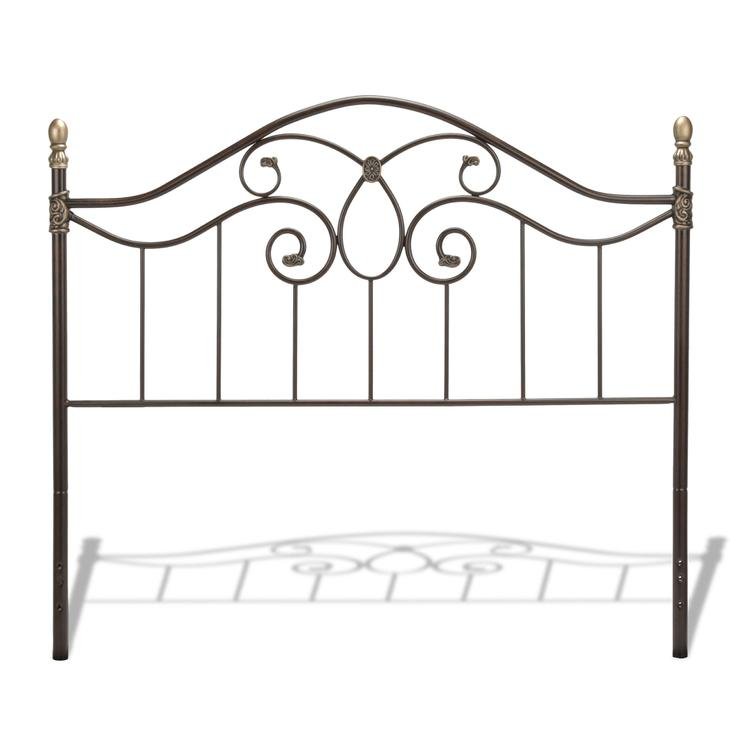 Dynasty Headboard with Arched Metal Grill and Scalloped Finial Posts