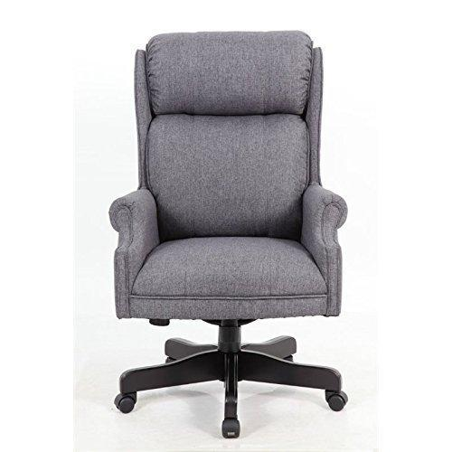 Boss Office High Back Slate Grey Commercial Grade Linen Chair With Black Base