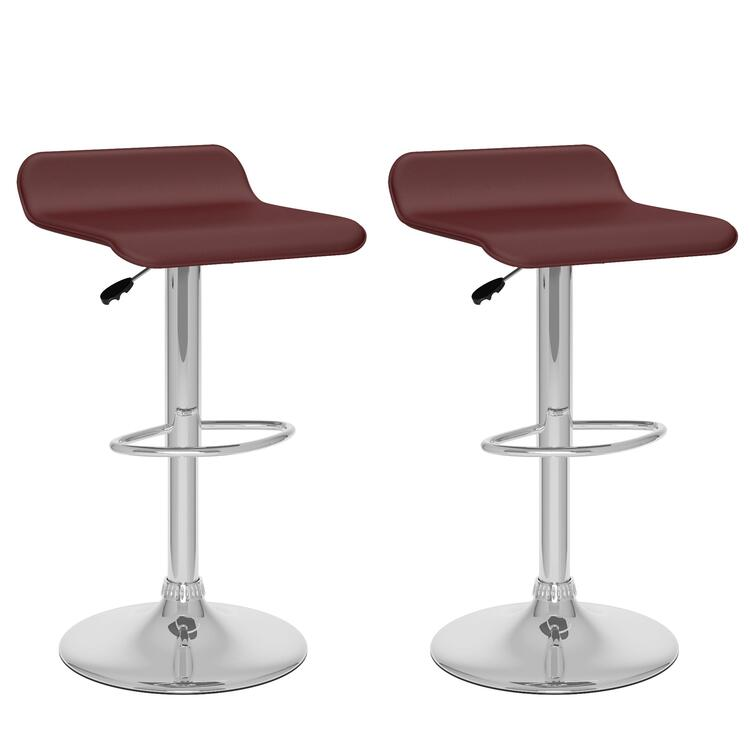 CorLiving Curved Adjustable Bar Stool in Brown Leatherette, set of 2