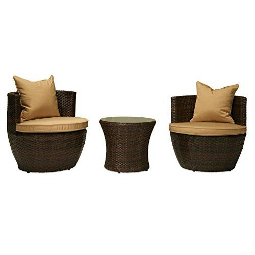 Perry 3-Piece All-Weather Wicker Patio Conversation Set