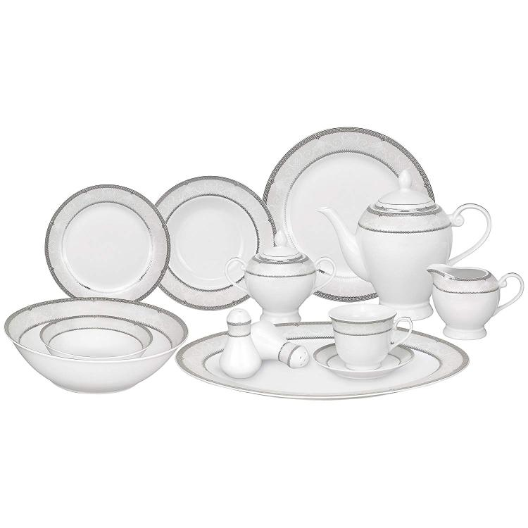 Lorren Home Trends 57 Piece Porcelain Dinnerware Set, Service 8
