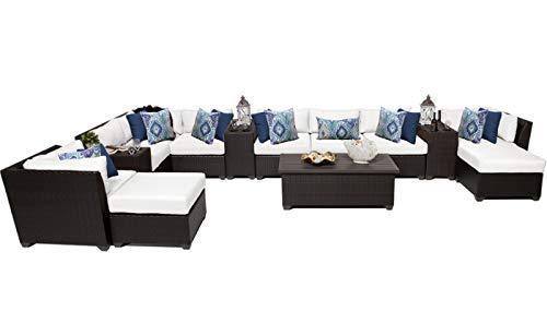 TK Classics Barbados 14 Piece Outdoor Wicker Patio Furniture Set