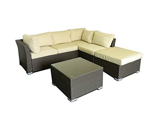 Jicaro 5 Pieces Outdoor Wicker Sectional Sofa Set - Rustic Dark Brown