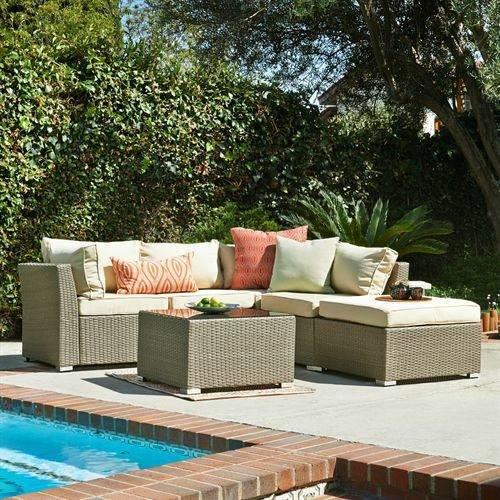 Jicaro 5 Pieces Outdoor Wicker Sectional Sofa Set - Natural Rustic Light Brown