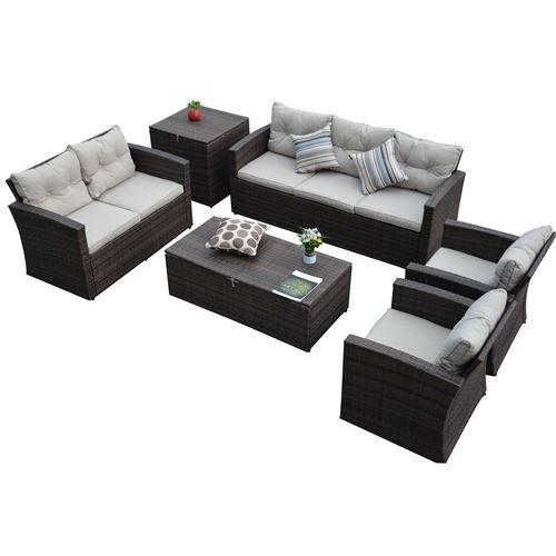 Rio-6 Piece 7 Seat Dark Brown All Weather Wicker Conversation set with Storage and Tan Color Cushions