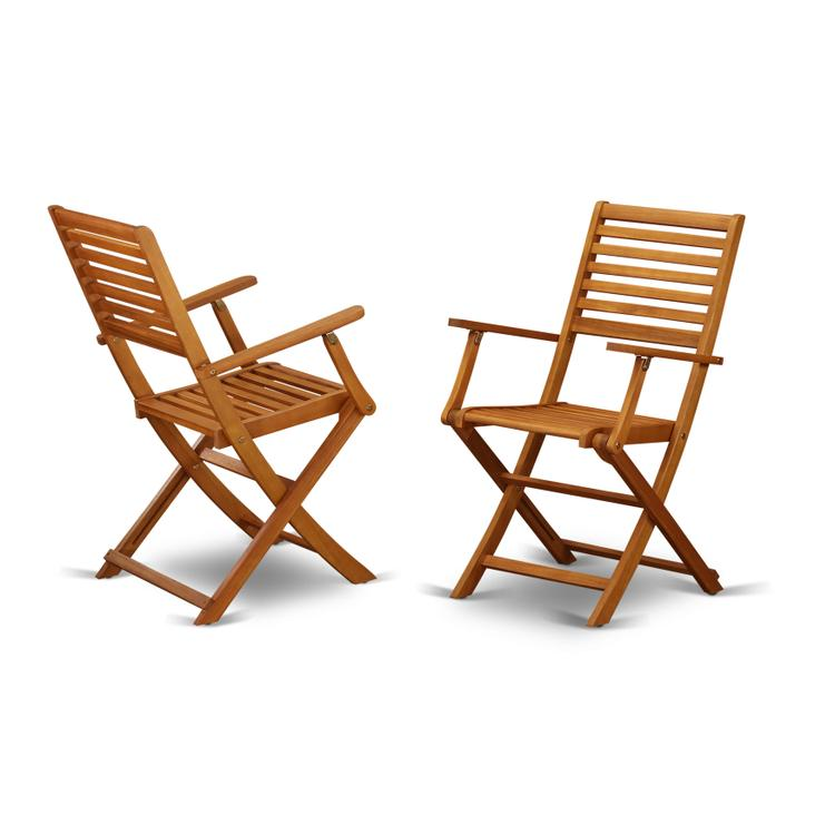 East West Furniture BBSCANA Solid Acacia Wood Outside patio Folding Chair With Arm Rest -Set of two