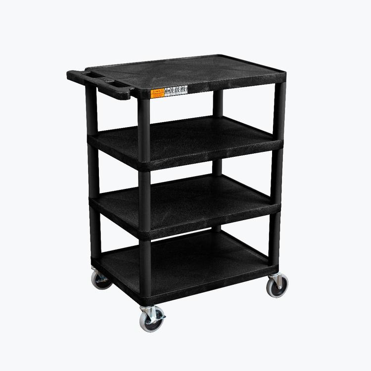 Luxor Four Flat-Shelf Structural Foam Plastic Cart