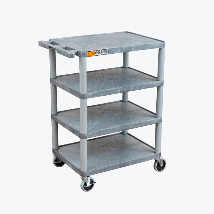 Luxor Four Flat-Shelf Structural Foam Plastic Cart