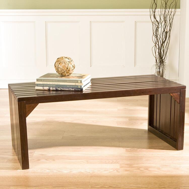 Southern Enterprises Slat Bench/Table - Espresso