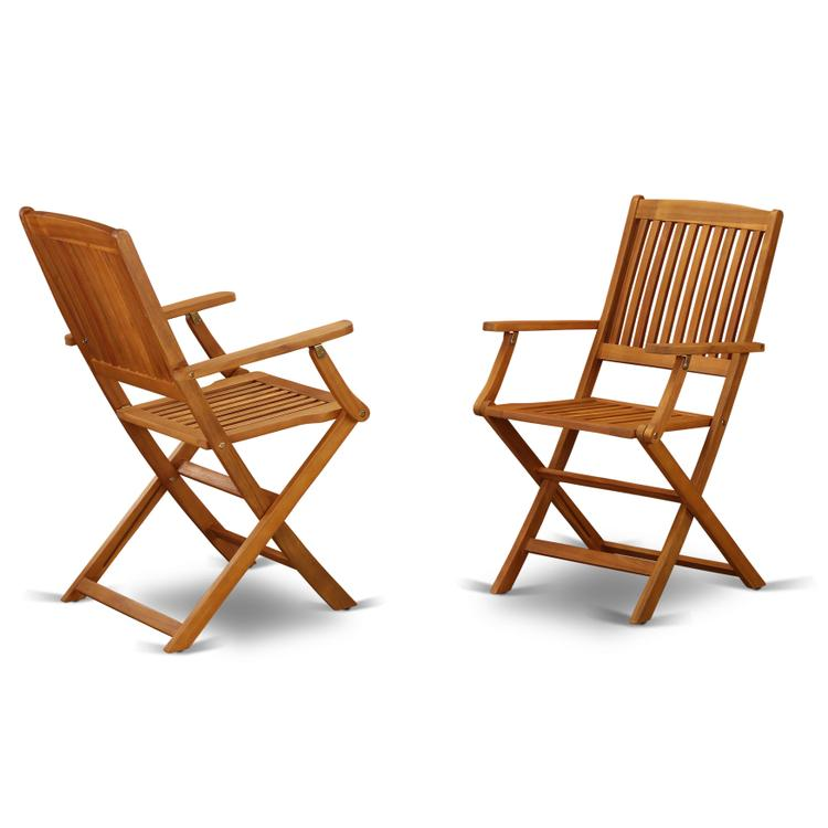 East West Furniture BCMCANA Solid Acacia wood Balcony Folding Arm Chair -Set of two