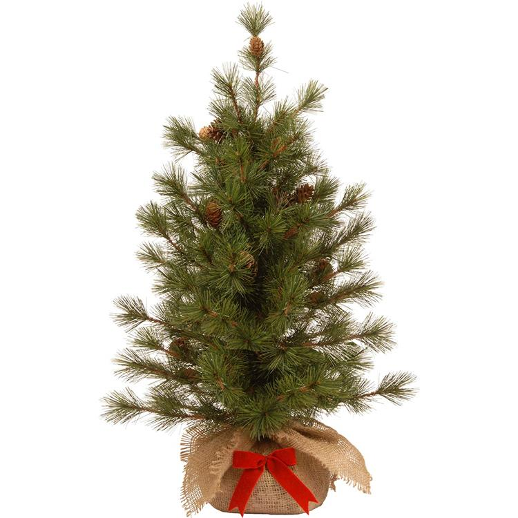 National Tree 3 Foot Bristle Cone Pine Tree with 44 Cones and Red Bow in a Burlap Base [Item # BCP3-700-30-1]