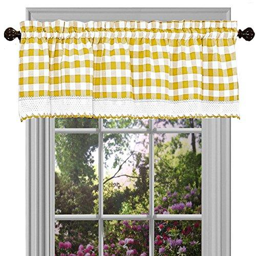 Buffalo Check Window Curtain Valance - 58x14 - Yellow