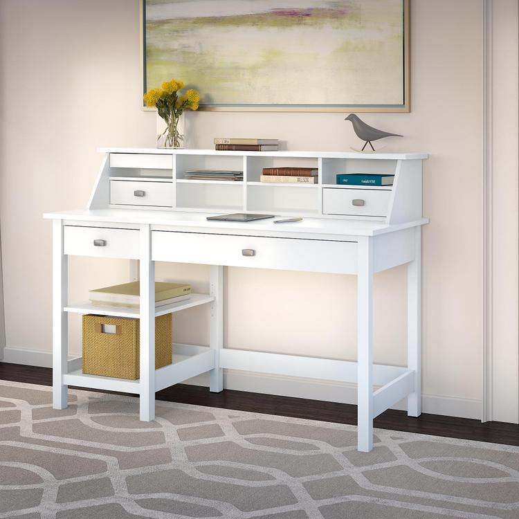 Broadview Computer Desk With Open Storage And Desktop Organizer