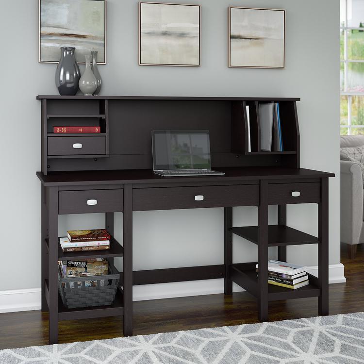 Broadview 60W Desk with Storage Shelves and Small Hutch Organizer