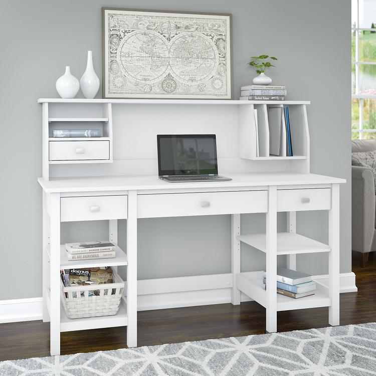 Broadview 60W Desk with Storage Shelves and Small Hutch Organizer [Item # BD009WH]