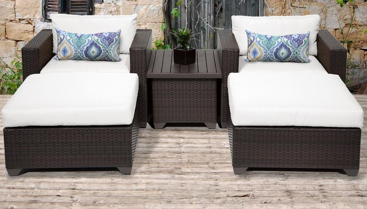 TK Classics Belle 5 Piece Outdoor Wicker Patio Furniture Set