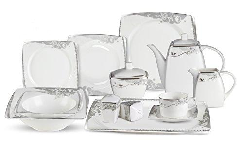 57 Piece Dinnerware Set-Bone China Service for 8-Belle