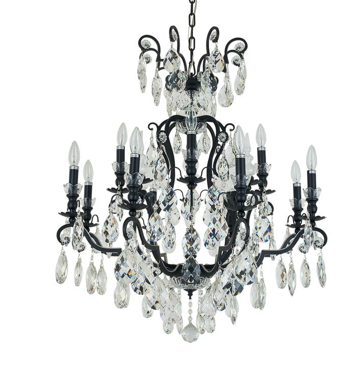 Bethel Matte Metal Frame Chandelier With Clear Hanging Crystals