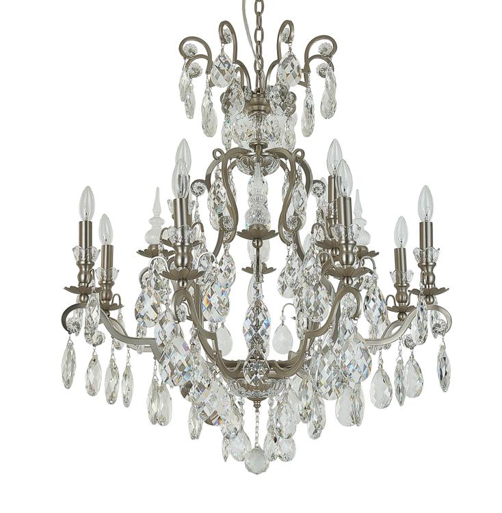 Bethel Pewter Metal Frame Chandelier With Clear Hanging Crystals