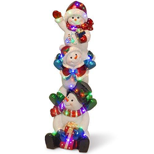 Pre-Lit Stacked Snowmen Decoration