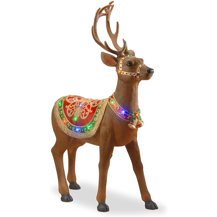 National Tree 49 Inch Fiberglass Standing Deer with 30 Multicolored LED Lights