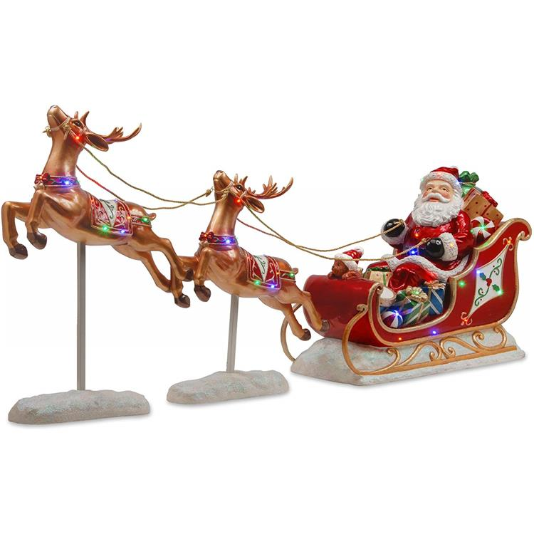 National Tree 30 Inch Reindeer Pulling Sleigh and Santa with Multicolored LED Indoor/Outdoor Lights