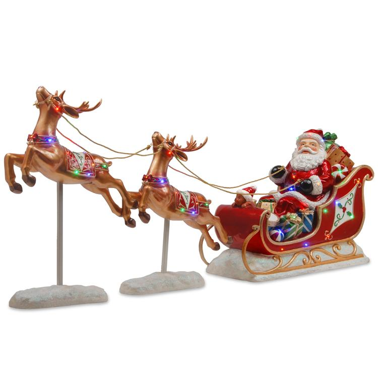National Tree Santas Sleigh and Reindeer Assortment