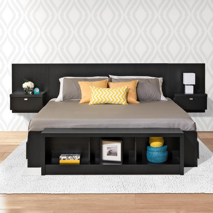 Prepac Series 9 Designer Floating Headboard With Nightstands [Item # BHHK-0520-2K]