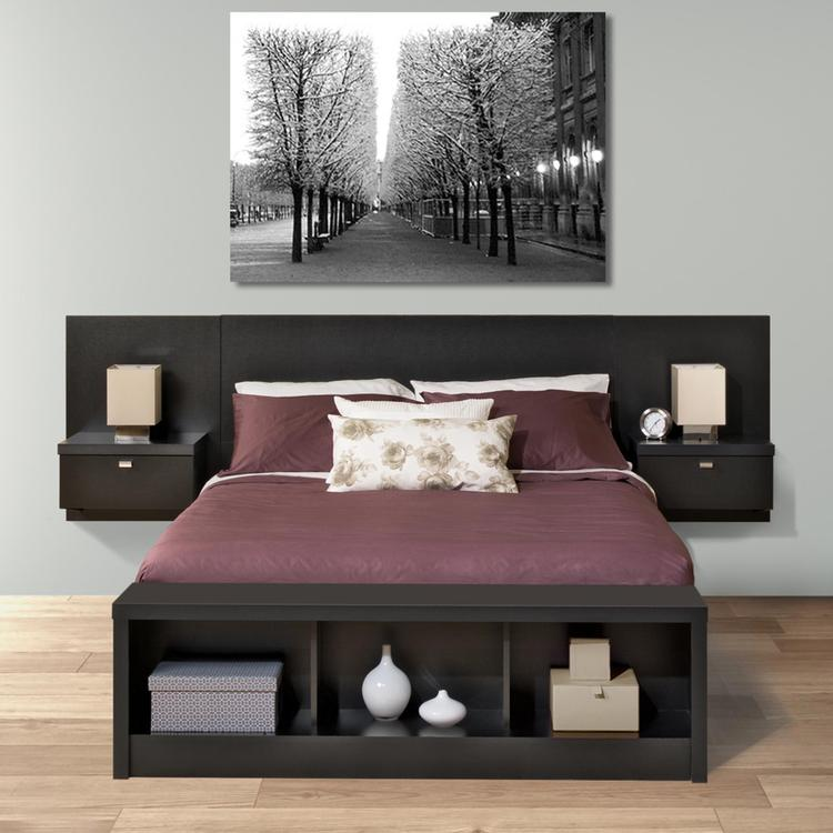 Prepac Series 9 Designer Floating Headboard With Nightstands