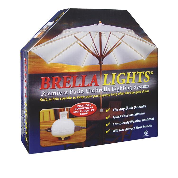 BRELLA LIGHTS - Patio Umbrella Lighting System With Power Pod - (8 Rib)